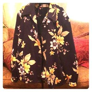 Alfred Dunner jacket, beautiful flowers, navy blue